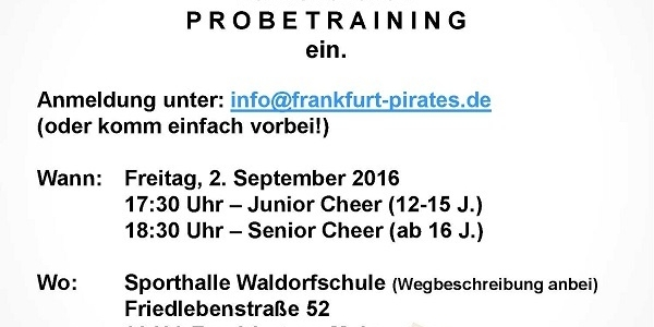 Cheerleader offenes Training bei den Juniors und Seniors